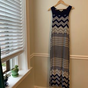 YA Los Angeles Navy Blue White Maxi Dress Small